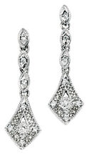9CT White Gold Diamond Vintage Drop Earrings with Giftbox