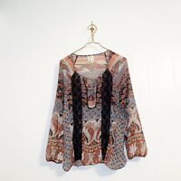 Anthropologie Fig & Flower Women's M Top Floral Paisley Semi Sheer Lace Blouse