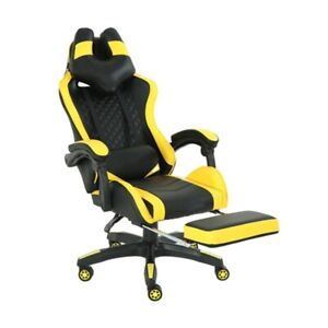 Gaming Home Chair Office Adjustable Comfortable Racing Yellow Highback Footrest