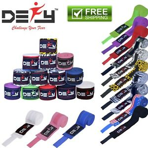"DEFY™ Boxing Hand Wraps 180"" Muay Thai MMA Elastic Bandages Protector New Pair"