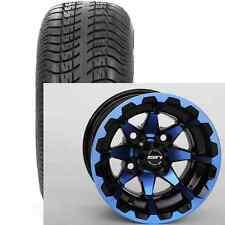"(4) STi 14"" Blue Red Orange HD6 Aluminum Golf Cart Car Wheels & Low Profile Tire"