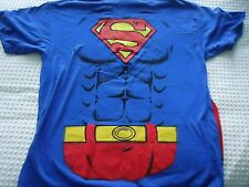 Men's size XL Superman Blue T-Shirt with Attached Red Cape Costume