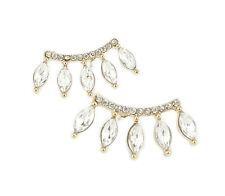 Marquise Crystal Ear Crawler Earrings Rhinestone Yellow Gold Cuff Climber Hooks