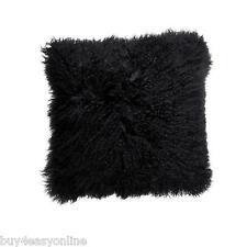 "Handmade Mongolian Fur 16""x16"" Square Black Pillow Cushion & suede fabric back"