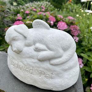 "Dog angel statue with wings 9"" concrete garden memorial Beloved cement figurine"
