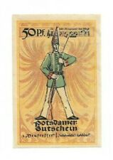 *1921 Potsdam Germany- Soldier & Eagle ~ 50 pf German Rare Notgeld Banknote