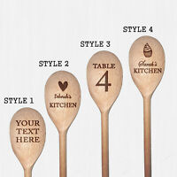 Personalised Engraved Wooden Mixing Spoon Cooking Utensil, any text or message