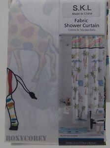 Saturday Knight Safari Fabric Animal Print Shower Curtain NIP