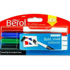 Berol Dry Wipe Markers WhiteBoard Pens Office School Teacher - Pack of 4