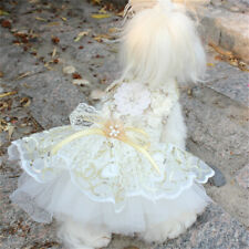Dog Lace Dress Wedding Clothes Sequin Bow Mesh Bride Floral Pet Costume Cute