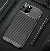 Shockproof Silicone Carbon Fiber Fibre Case Cover For Apple iPhone 11 Pro Max X