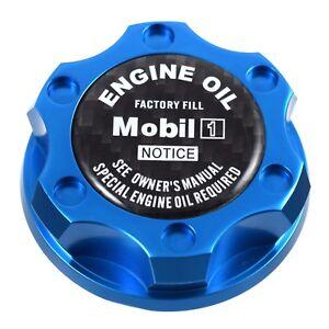 Blue Oil Filler Cap W/ Black Carbon Fiber Mobil One For Chrysler Jeep Dodge Ram