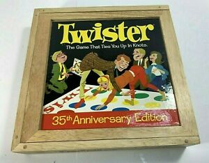 2001 Milton Bradley Twister Game 35th Anniversary Edition Wooden Box Complete
