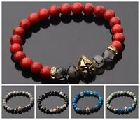8mm Women Men Black Lava Stone Gold Silver Spartan Helmet Bracelet Beaded Charm