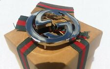 Authentic Gucci Classic Interlocking GG Logo Silver Metal Belt Buckle Double G