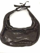 CHLOE Brown Metal & Leather Mesh Hobo Handbag Shoulder Bag
