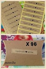 96 X Rectangular   Hand Made  With Love Kraft Stickers /Gift/Food/Packaging