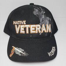 Native Veteran Korea Adjustable Strapback Cap Hat Black