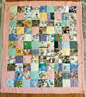 "Vintage HANDMADE Pink/Coral Border Cute Animals Crib Child's Quilt 41"" x 48"""