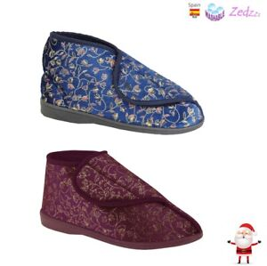LADIES BOOTIE SLIPPERS TOUCH FASTENING COMFY RED BLUE WASHABLE SIZE 3 to 8 UK
