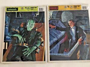 Sealed Vintage 1991 Dracula/Frankenstein Golden Tray Puzzles Universal Horror