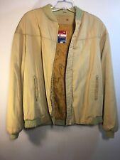 Varsity by Catalina Vintage Bomber Tank Jacket Tan Khaki Beige Size 46 Long Cool