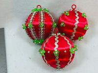 3 Vintage Beaded Spun Satin Christmas Ornament Red Xmas Holiday 25648