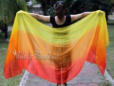 red-orange-yellow 3yd belly dance silk veil+bag, light 5mm paj silk,edges rolled