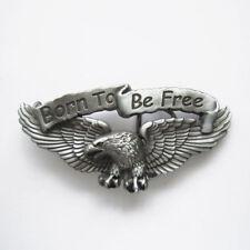 """Born To Be Free"" Eagle Biker Metal Belt Buckle"