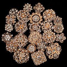 Lot12/24 Mixed Alloy Golden Silver Rhinestone Crystal Brooch DIY Wedding Bouquet