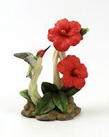 Vintage 1983 Lefton China Hand Painted Hummingbird & Red Flowers Figurine #03920