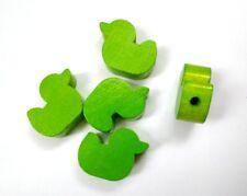 5 Entchen pastellgrün Schnullerkettenmaterial Ente grün Holzperle Motivperle