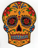 ORANGE DIA LOS MUERTOS DAY OF THE DEAD SUGAR SKULL EMBROIDERED IRON ON PATCH