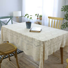 White Tablecloth Hollow Out Knit Lace Cotton Rectangle Square Table Cloth Decor