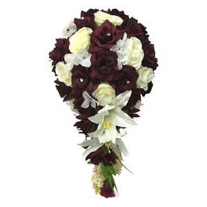 Keepsake Cascading Bouquet- Dark Burgundy and White or Ivory Artificial Flowers