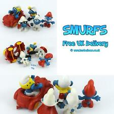 SMURFS Set of 5 Peyo Figures inc walker, dring with red car, spy, jumpsuit, papa