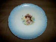 Antique Bavaria Lady Portrait Cabinet Plate Lovely Pale French Blue Chic Shabby