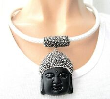 Gorgeous Black Jasper Marcasite Asian Princess White Leather Collar Necklace