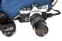 Olympus OM-2 Film Camera & OM 75-150mm Lens + Flash