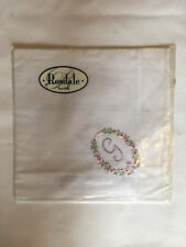 Monogrammed Handkerchief with purple letter G in floral wreath. new in packet