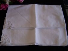 Set 8 Eight White 100% Cotton Napkins Small Lace Corner Unused