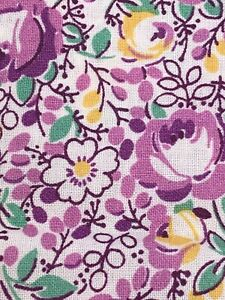 """1930s Style Purple Floral Fabric 100% Cotton Quilting Fabric 2.5"""" Unbranded"""