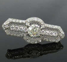 Antique Art Deco Marcus & Co 5.50ct European Cut Diamond Platinum Brooch
