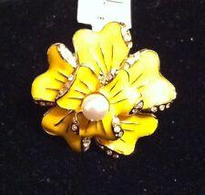 St. John Designer Jewelry Yellow & Gold Ring Size 8.5 NEW Swarovski Crystals