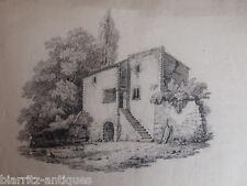 Dessin au crayon 19ème - Mas en pierre en haute Provence - Dim 29,5 x 45