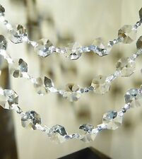 """6 Ft~""""Asfour 30% Lead Crystal"""" Silver Chandelier~Lamp Prism Swag Chains~NEW!"""