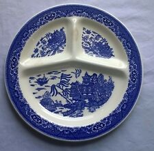 "BLUE WILLOW DIVIDED PLATE blue & white 11""  GRILL PLATTER no markings"