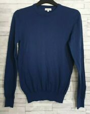 Mens REISS Jumper Size Small Blue 100% WOOL Soft Thin Knit Immaculate Casual