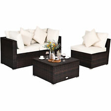 Topbuy 4PCS Patio Rattan Wicker Sectional Sofa Furniture Set w/ Cushion