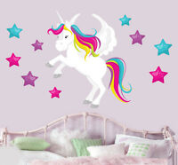 Magical Unicorn & Stars Mural Wall Stickers - Children's Bedroom Nursery Decal